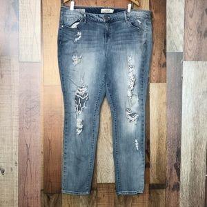 TORRID skinny, destroyed jeans. Size 20